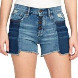 NWT High Rise Colorblock Distressed Denim Shorts